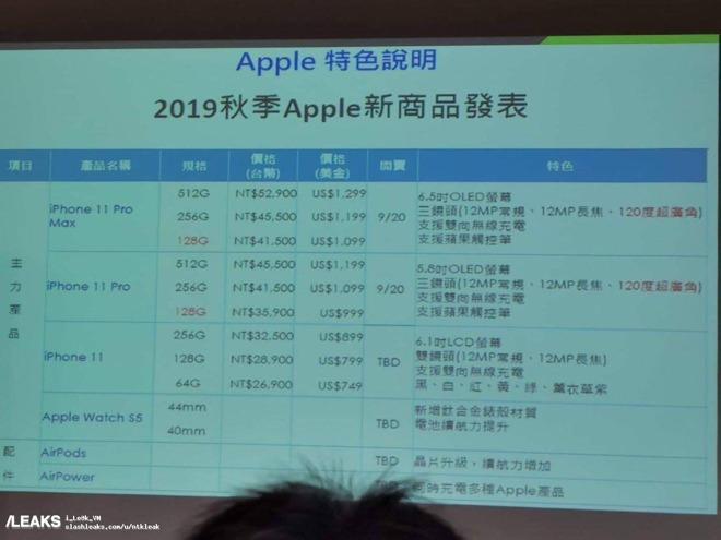 新iPhone11定价不变?中国台湾运营商幻灯片泄露相关信息