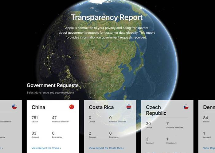 苹果发布2019上半年政 府透明度报告