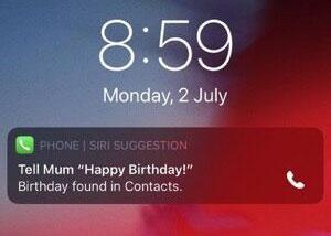 iOS12暖心功能:Siri会提醒你女友生日了