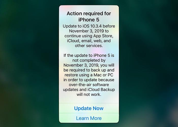 iPhone 5 用户请尽快更新系统到 10.3.4,否则将无法正常使用