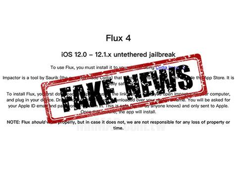 小心假越狱工具Flux 4!iOS12.0~12.1.x暂不能越狱