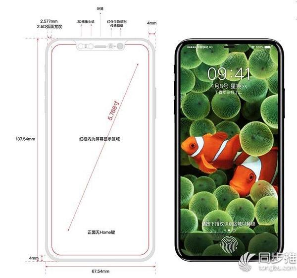 iPhone8渲染图再曝光:边框厚度仅为4mm