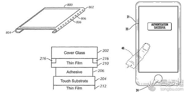 苹果新专利:无边框屏幕+嵌入式Touch ID