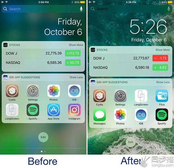iOS10越狱插件推荐:可为设备移植iOS11通知中心