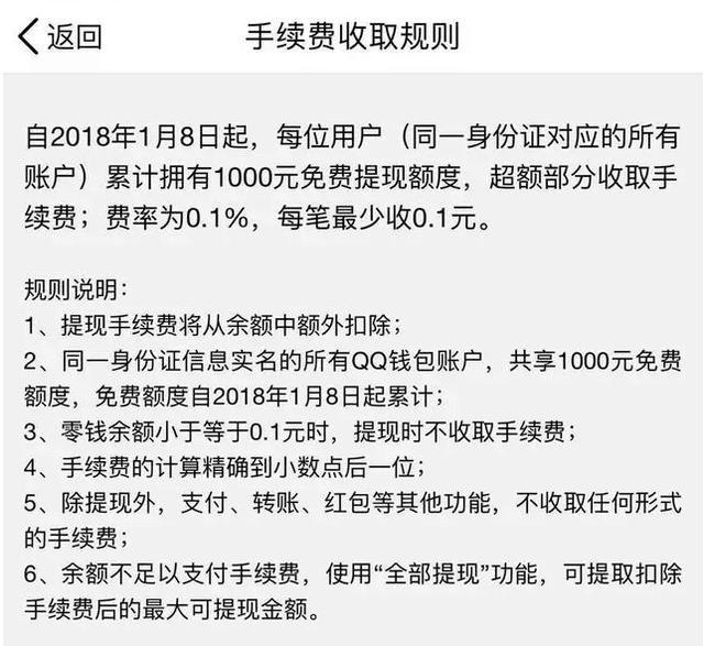 QQ钱包提现将收费:超1000元部分收取手续费0.1%