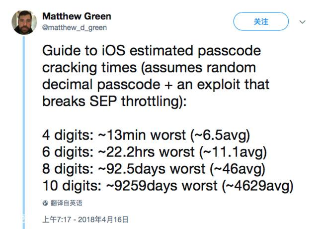iPhone改成6位密码就安全了?专家说破解只需要半天