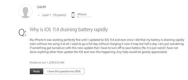 用户吐槽升iOS11.4后耗电过快 你有遇到么?