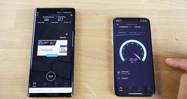 速度对比:三星Galaxy Note 9对比iPhone X