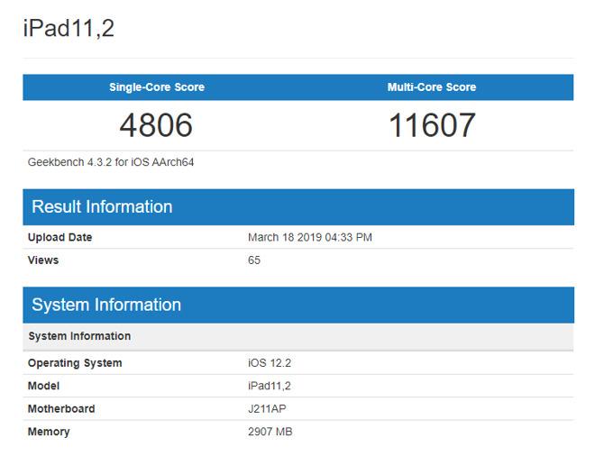 苹果新iPad跑分首曝:2.49GHz主频 3GB内存