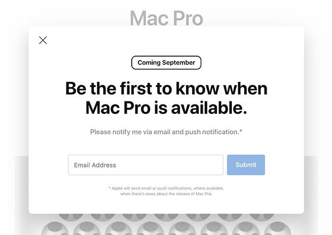 苹果官方显示:全新Mac Pro今年9月发售?
