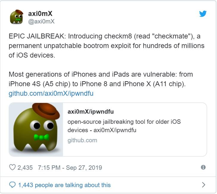 不可修补的iOS漏洞可能导致iPhone 4s到iPhone X永久越狱