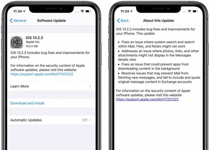 苹果发布iOS 13.2.3更新,Bug修复和细节优化
