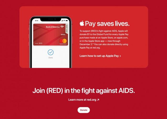 苹果官方线上线下Apple Pay每笔交易将向全球基金会捐赠1美元