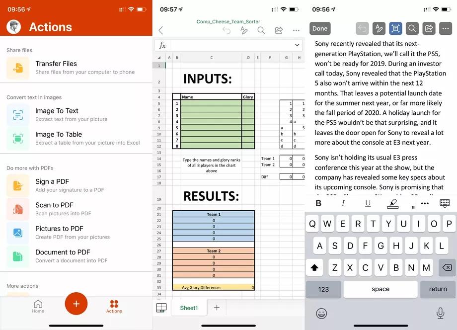 微软在iOS平台推出Office三合一App:集成word, Excel和PPT