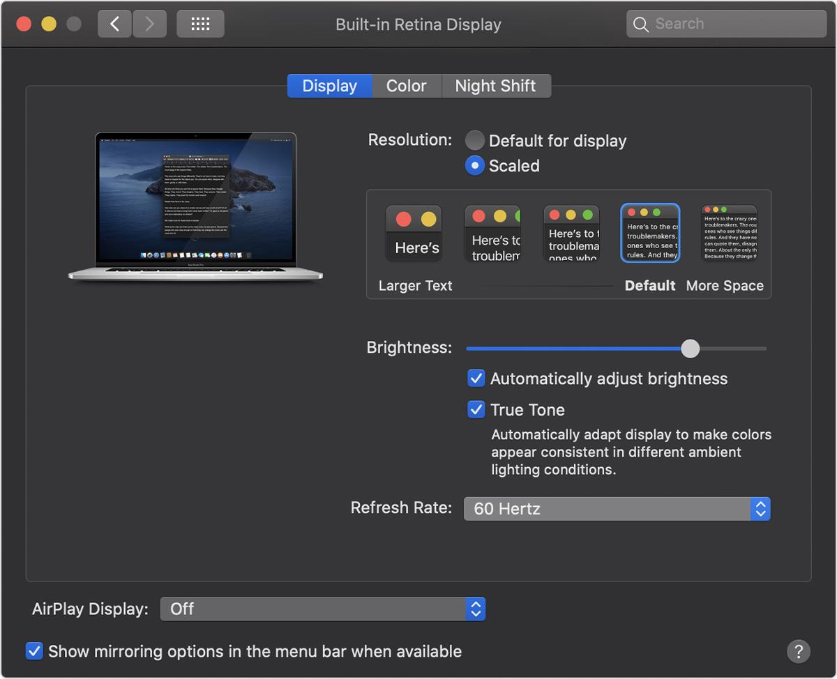 16 英寸 MacBook Pro 独家功能:屏幕刷新率可调!