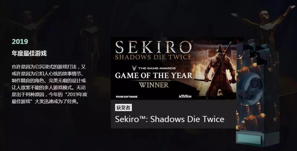 Steam大奖评选结果揭晓:《只狼 影逝二度》荣膺年度最佳