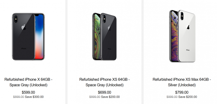 苹果开始销售翻新的iPhone XS和iPhone XS Max型号