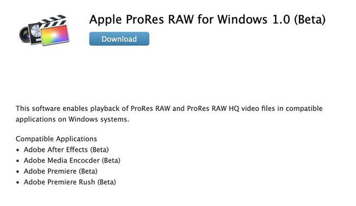 苹果发布Windows 系统 ProRes RAW 测试版