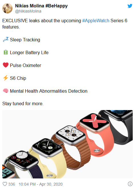 Apple Watch Series 6或增加焦虑监测和睡眠追踪功能