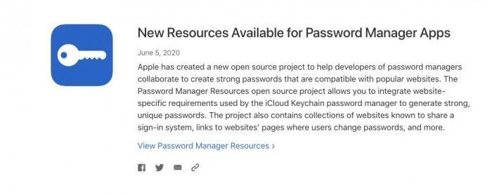 苹果推出全新开源项目 方便密码管理 App 创建强密码