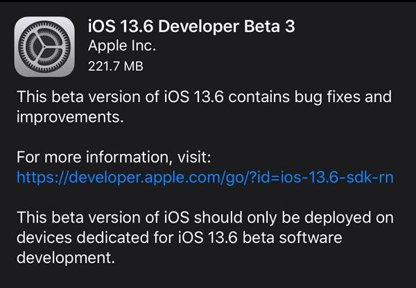 苹果开始公测iOS 13.6:修复Bug 为iOS 14做准备