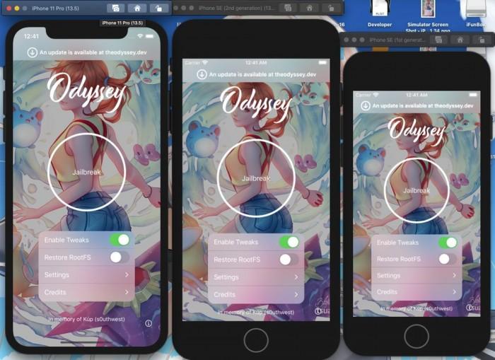 越狱工具Odyssey Beta 2发布:支持A8-A13设备,适用于iOS 13-13.5.x