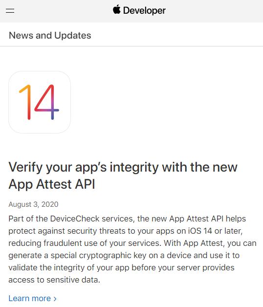 """iOS 14 引入新的""""App Attest"""" API,旨在减少应用欺诈"""