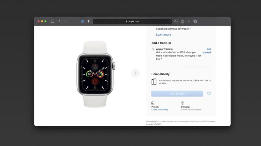 苹果商店Apple Watch Series 5暂停供应,下一代即将到来?