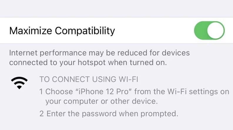 iPhone 12 作为个人热点时,可使用 5GHz 频段 WiFi