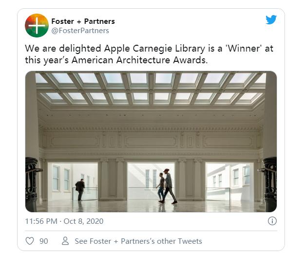 苹果卡内基图书馆荣获美国建筑奖修复与翻新类大奖