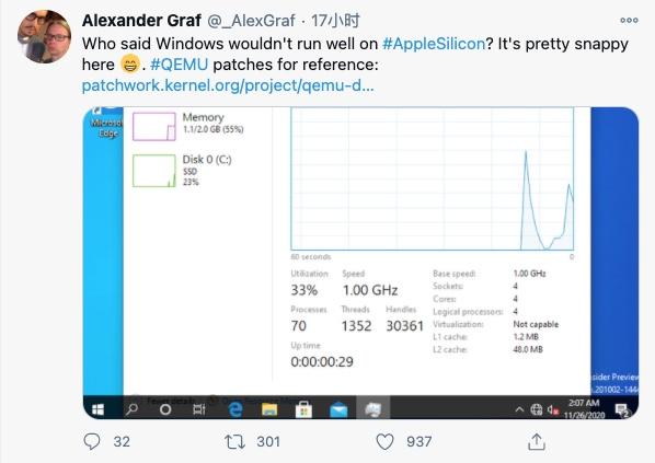 开发者成功在 M1 Mac 上虚拟 ARM 版 Windows