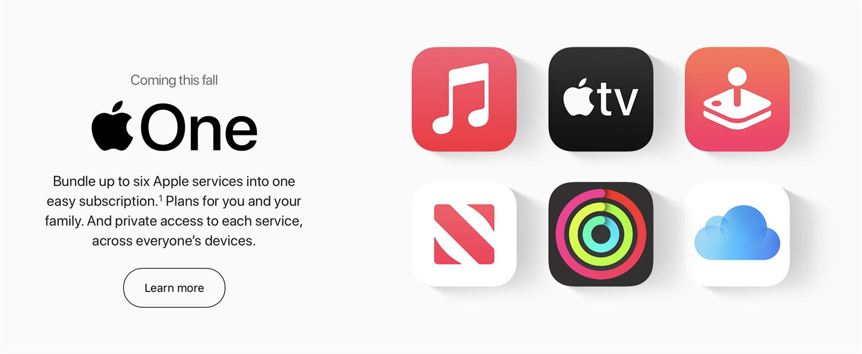 苹果 Apple One 全家桶服务上线:最高可拥有2TB的iCloud空间