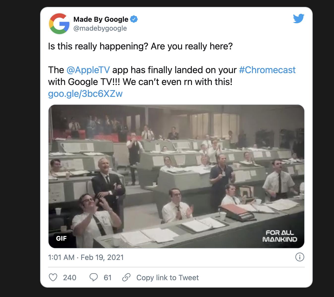 Apple TV 应用正式支持谷歌 Chromecast 电视棒