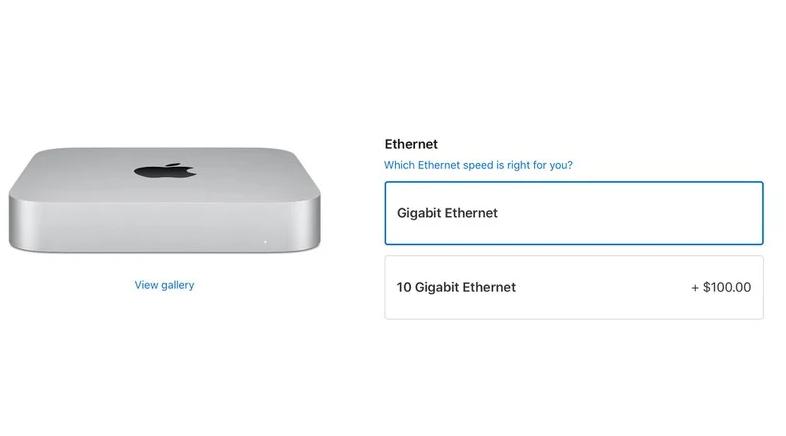 苹果现在为Mac Mini提供售价100美元的万兆以太网零件