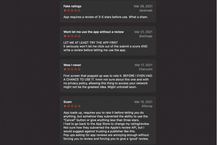 Apple Store发现诈骗应用 用户不给出好评就拒绝运行