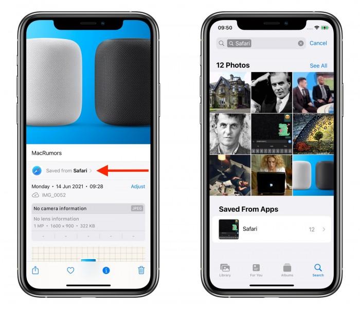 iOS 15 照片将显示保存的图片来自哪些应用
