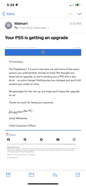 美国沃尔玛数字版PS5无货给顾客免费升级成光驱版