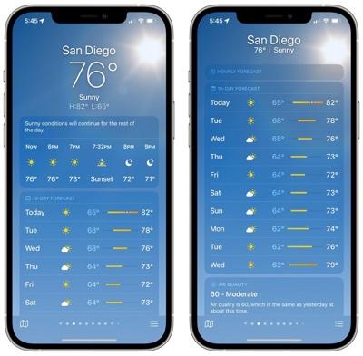 苹果 iOS 15 天气 App 有哪些重大功能与设计改进?