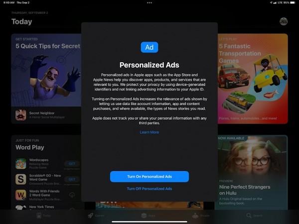iOS 15现在会提示用户是否要启用苹果的个性化广告 之前是默认开启的