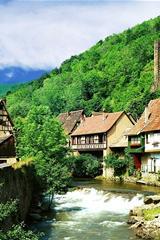 ,溪流,小房屋,