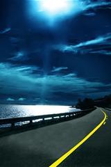 ,蓝天白云壁纸,公路,大海,