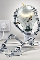 ,灯泡,机器人,科幻,
