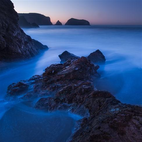 山,云,雾,海水,大海,唯美,风景,蓝色