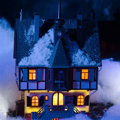 城堡,下雪,木屋,冬天,夜晚,唯美,风景,蓝色