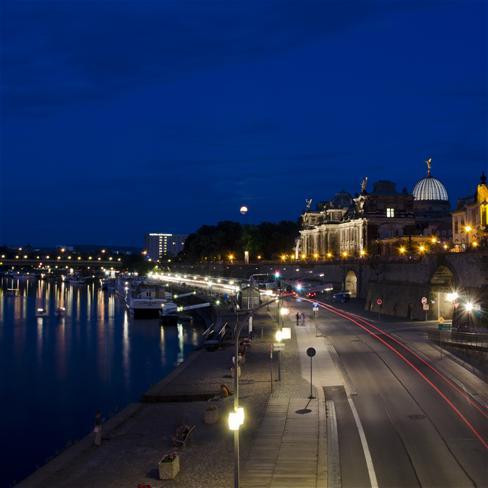 城市,夜景,灯光,月亮,风景,蓝色
