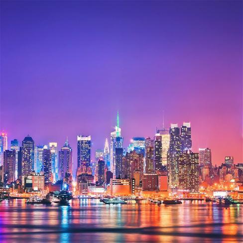 纽约,美国,城市,高楼,大厦,夜景,紫色