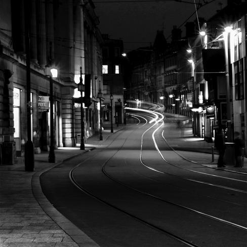 街道,夜晚,黑白,风景,黑色