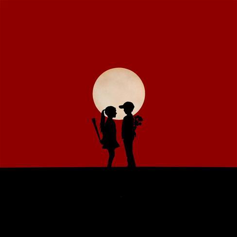 动漫红色月亮背景