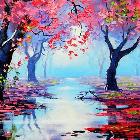 手绘,秋天,红叶,唯美