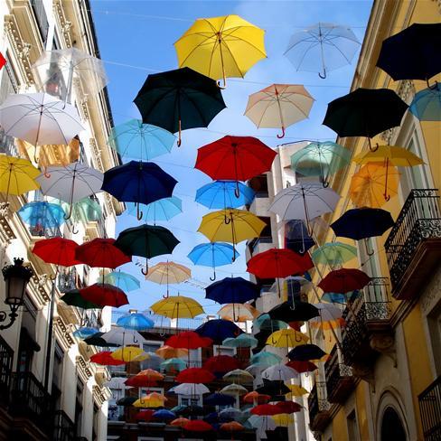 伞,房屋,五彩,雨伞,唯美,风景,创意,静物,彩色
